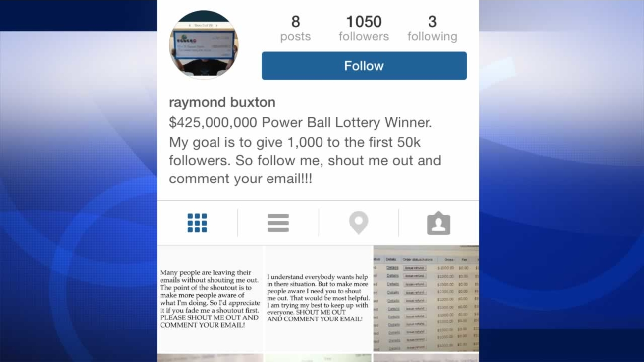 Instagram scammer posing as Powerball winner, claiming to give out