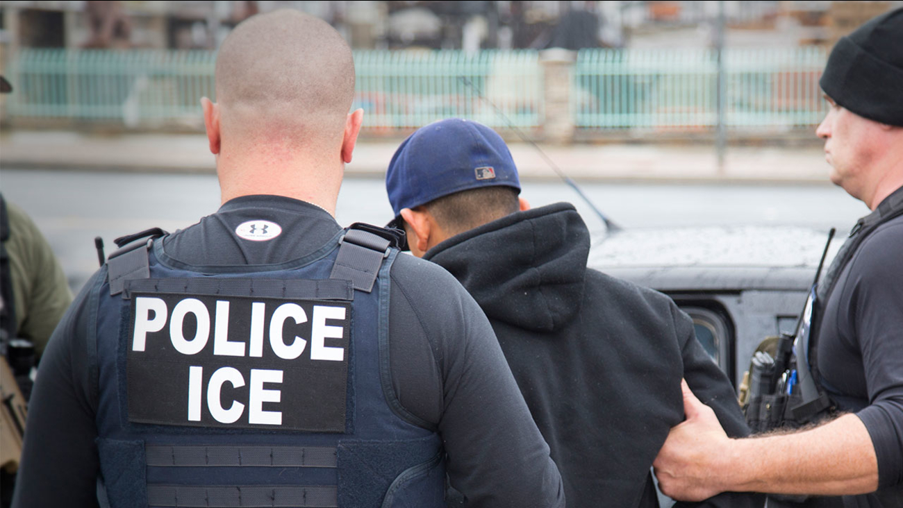 In this Tuesday, Feb. 7, 2017, photo released by U.S. Immigration and Customs Enforcement shows foreign nationals being arrested.