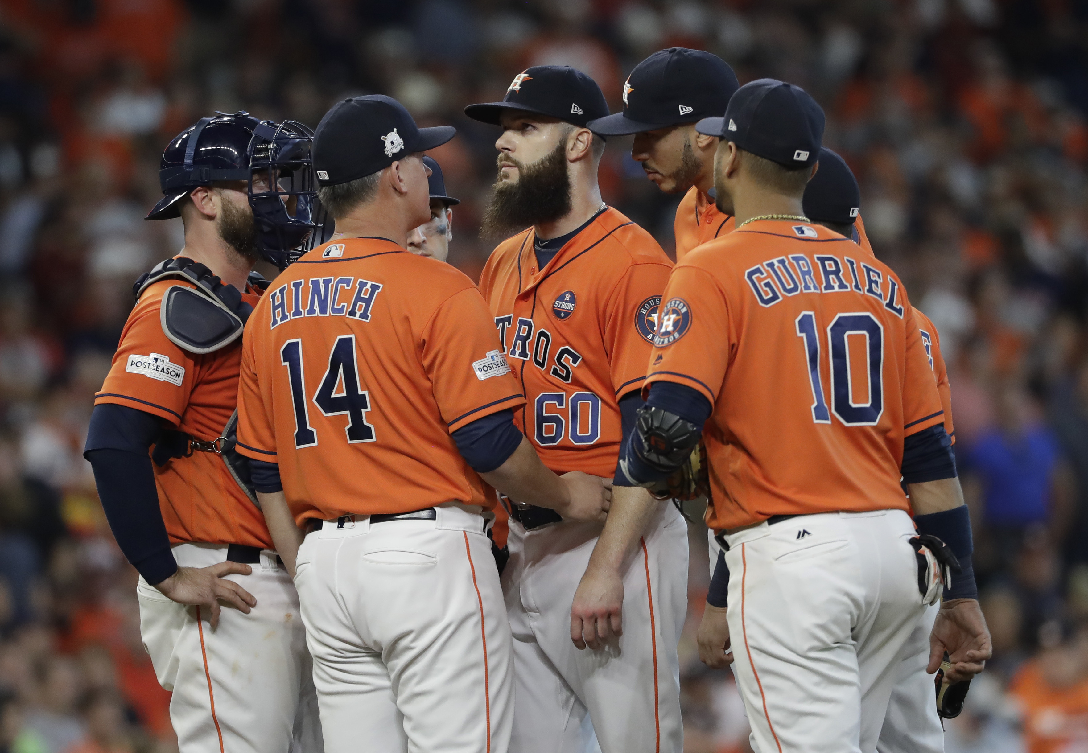 <div class='meta'><div class='origin-logo' data-origin='AP'></div><span class='caption-text' data-credit='David J. Phillip'>Houston Astros starting pitcher Dallas Keuchel (60) is pulled from the game during the sixth inning in Game 2 of baseball's American League Division Series.</span></div>