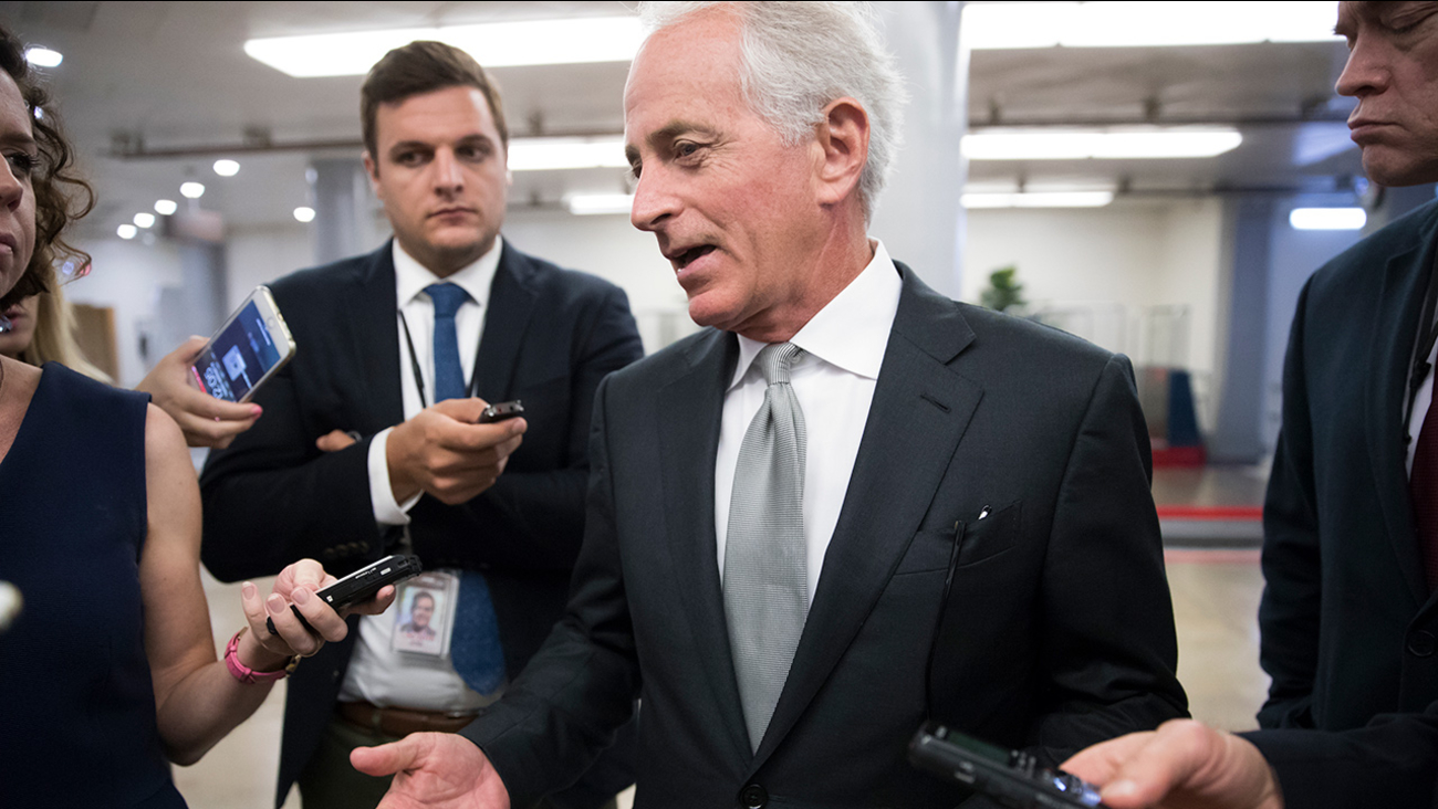 Sen. Bob Corker, R-Tenn., chairman of the Senate Foreign Relations Committee, chats with reporters at the Capitol in Washington, Tuesday, Sept. 26, 2017.