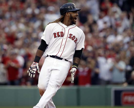 <div class='meta'><div class='origin-logo' data-origin='AP'></div><span class='caption-text' data-credit='AP'>Boston Red Sox designated hitter Hanley Ramirez shouts after hitting a two-run RBI double during the seventh inning in Game 3. (AP Photo/Charles Krupa)</span></div>