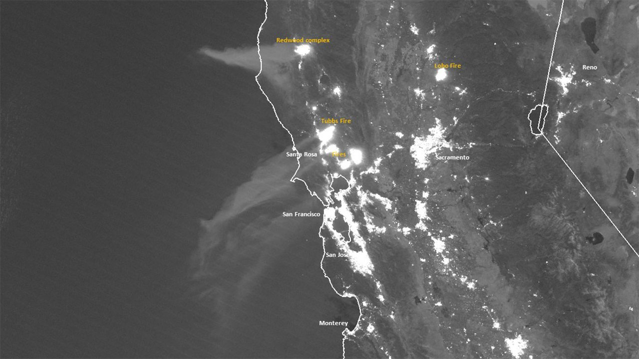 Satellite imagery of the wildfires in California