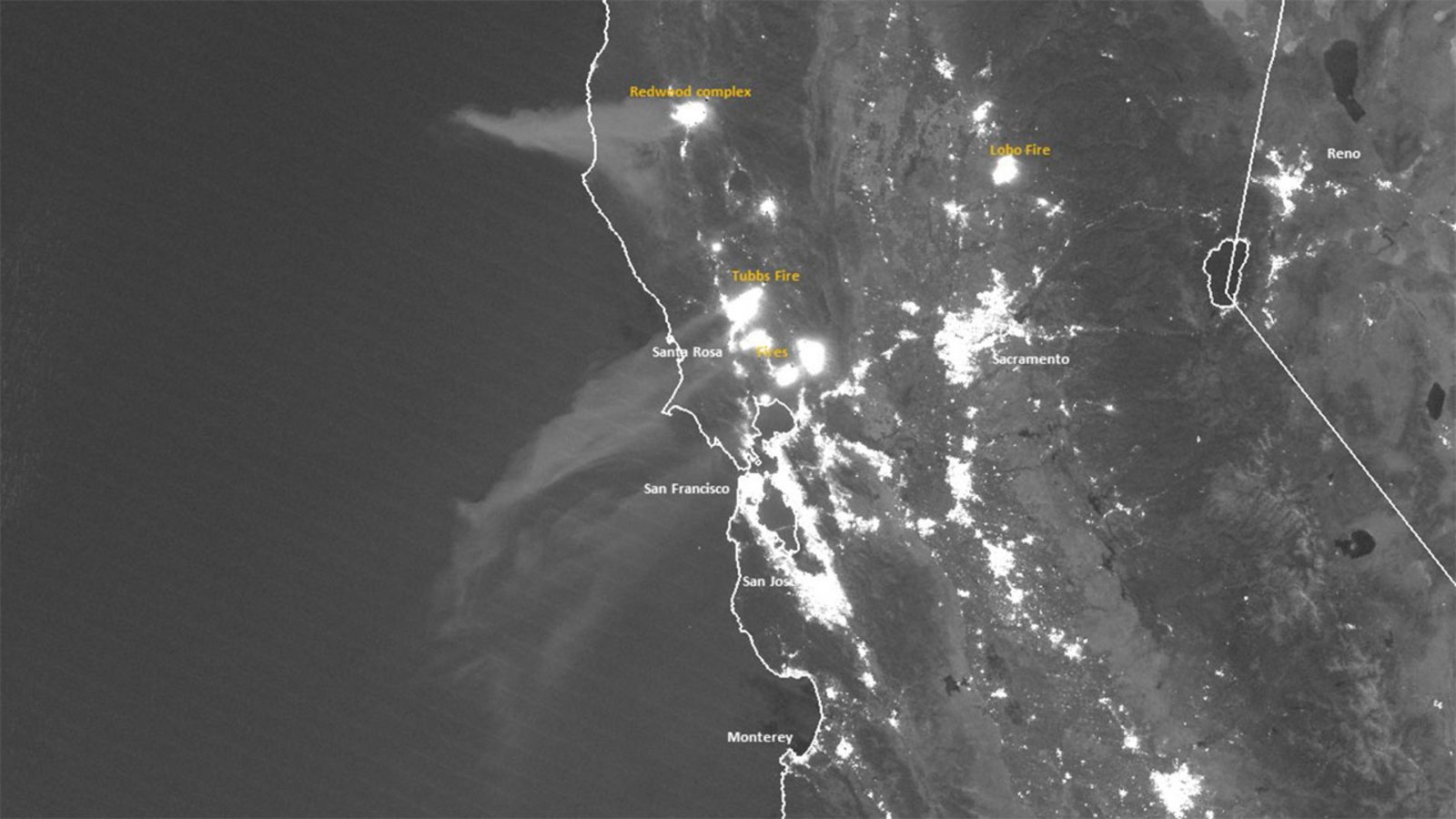 NOAA satellite image shows Northern California fires from ...