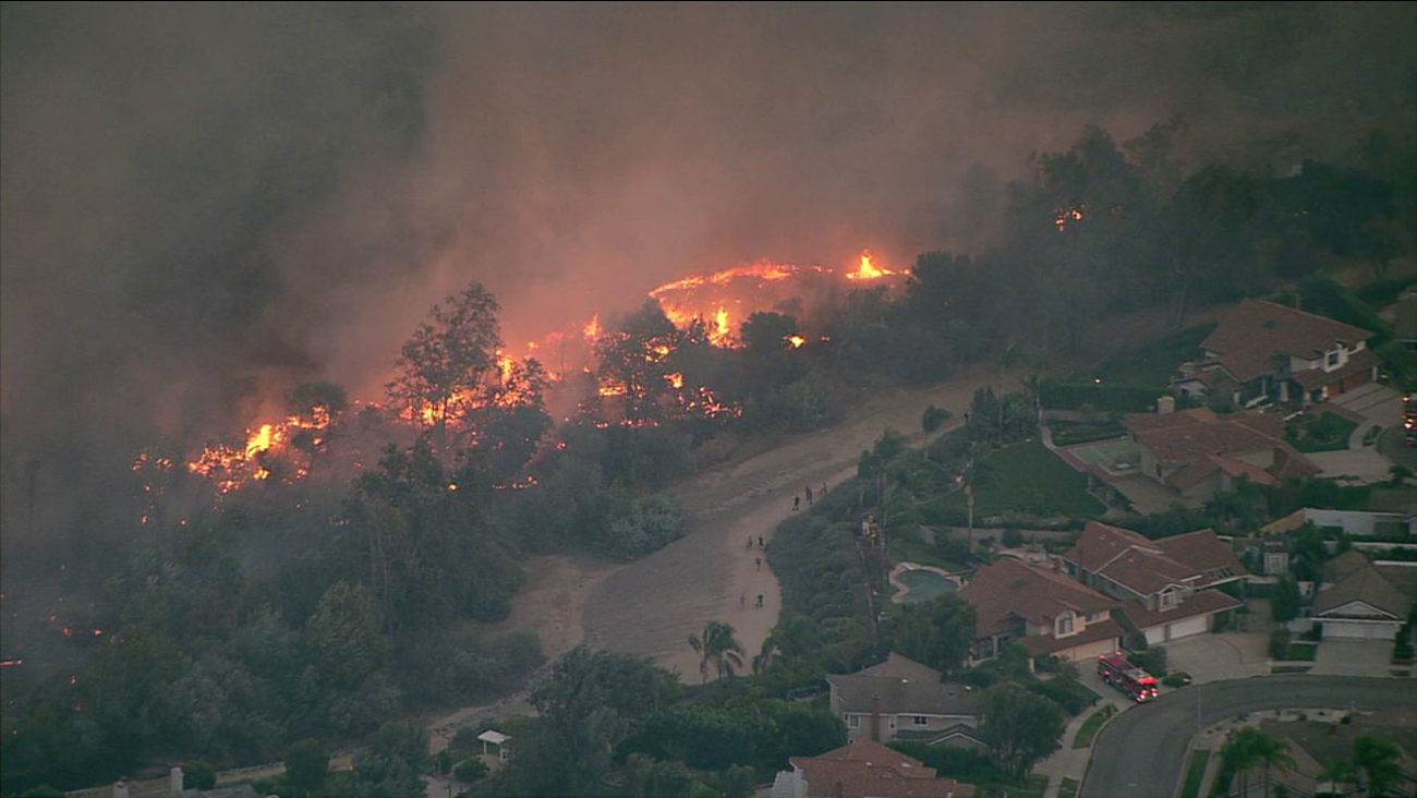 The Canyon Fire 2 is threatening thousands of homes in the Anaheim Hills area.