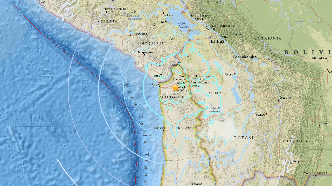 The U.S. Geological Survey says a magnitude 6.3 earthquake has struck northern Chile on Tuesday, Oct. 10, 2017.