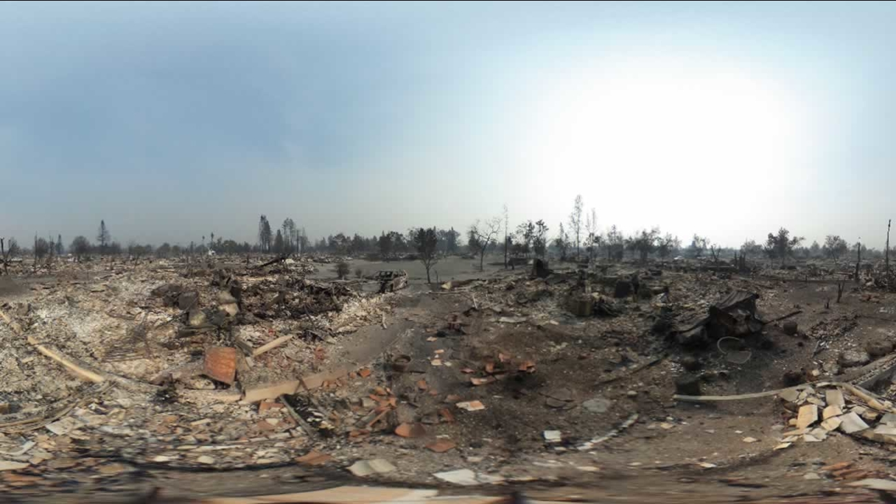 This photo shows the damage on San Sonita Place on Tuesday, Oct. 10, 2017 after a wildfire moved through Santa Rosa, Calif.