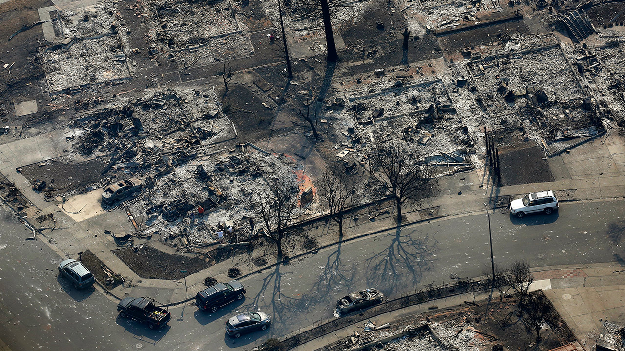 Burned out homes are seen in the Coffey Park area Wednesday, Oct. 11, 2017, in Santa Rosa, Calif.