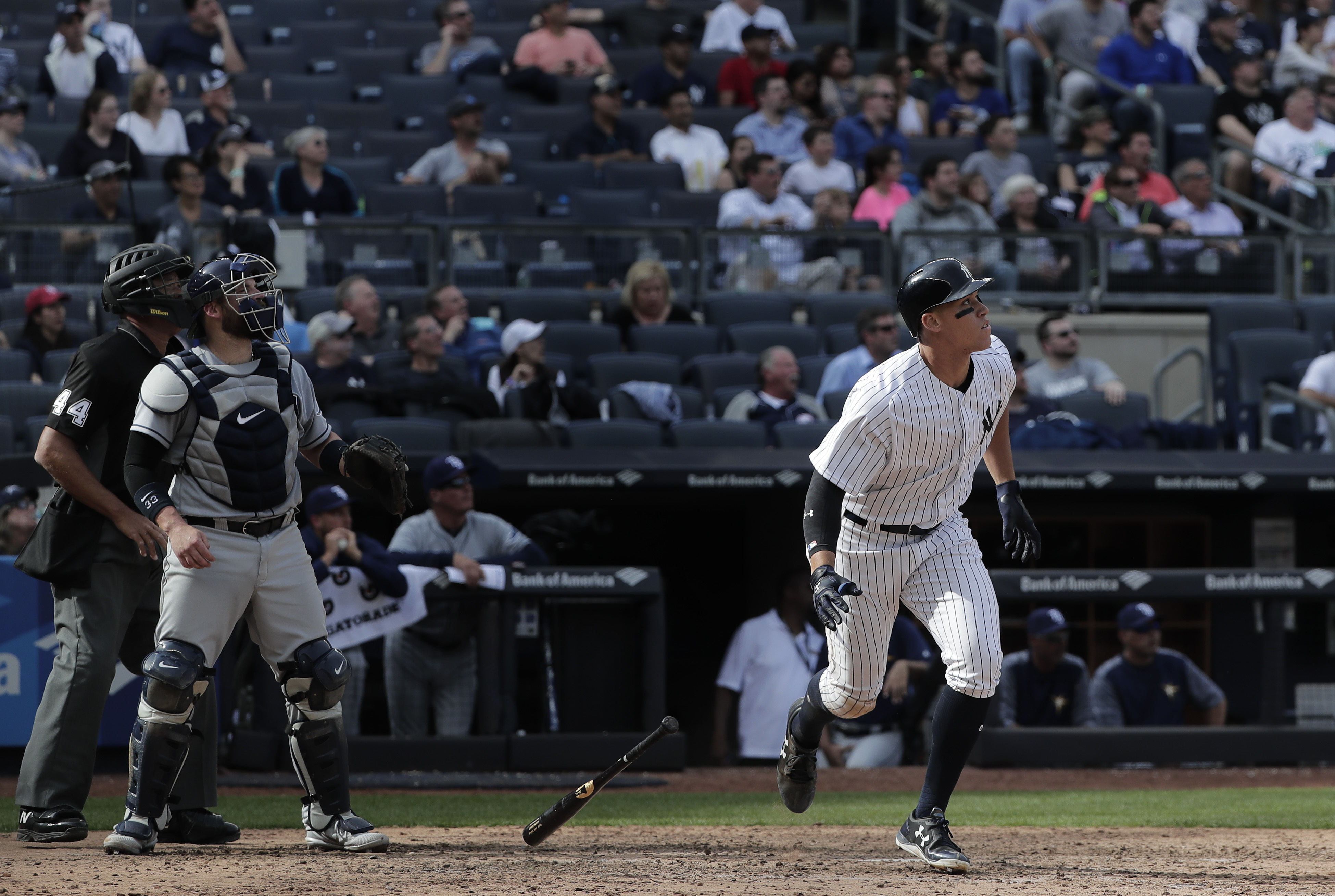 "<div class=""meta image-caption""><div class=""origin-logo origin-image ap""><span>AP</span></div><span class=""caption-text"">Aaron Judge leaves the batters box after connecting for a 435-foot home run against the Tampa Bay Rays Wednesday, April 12, 2017, in New York. (Julie Jacobson)</span></div>"