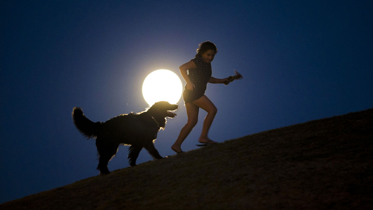 "<div class=""meta image-caption""><div class=""origin-logo origin-image ""><span></span></div><span class=""caption-text"">A girl plays with a dog as a perigee moon, also known as a supermoon, rises in Madrid, Sunday, Aug. 10, 2014. (AP Photo/Andres Kudacki)</span></div>"