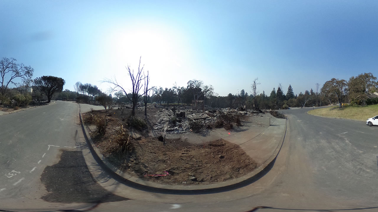 This 360 photo shows the devastation after a wildfire in Napa, Calif. on Friday, Oct. 13, 2017.