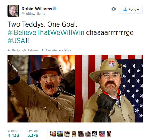 "<div class=""meta image-caption""><div class=""origin-logo origin-image ""><span></span></div><span class=""caption-text"">One of Williams' last tweets included this photo, cheering on the USA team during the 2014 World Cup. (robinwilliams / Twitter)</span></div>"