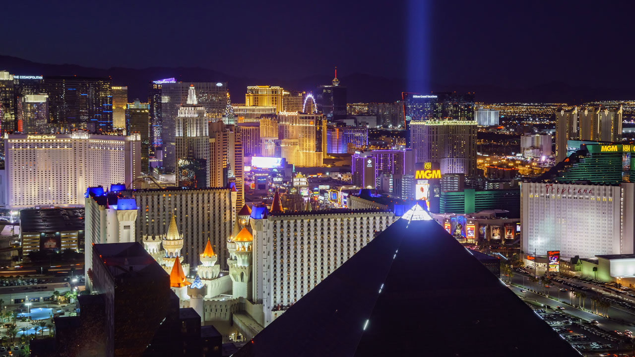 The Luxor Hotel and Casino and the rest of the Las Vegas strip are shown in a nighttime file photo.