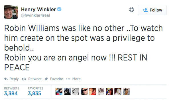 "<div class=""meta image-caption""><div class=""origin-logo origin-image ""><span></span></div><span class=""caption-text"">Actor Henry Winkler expressed his condolences. Winkler had worked with Williams on Happy Days, which launched him into the role of Mork of Mork and Mindy. (hwinkler4real / Twitter)</span></div>"