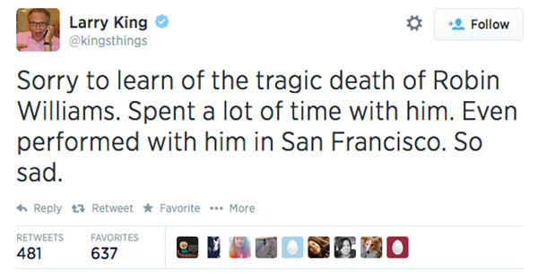"<div class=""meta image-caption""><div class=""origin-logo origin-image ""><span></span></div><span class=""caption-text"">TV host Larry King expressed his condolences. (kingsthings / Twitter)</span></div>"