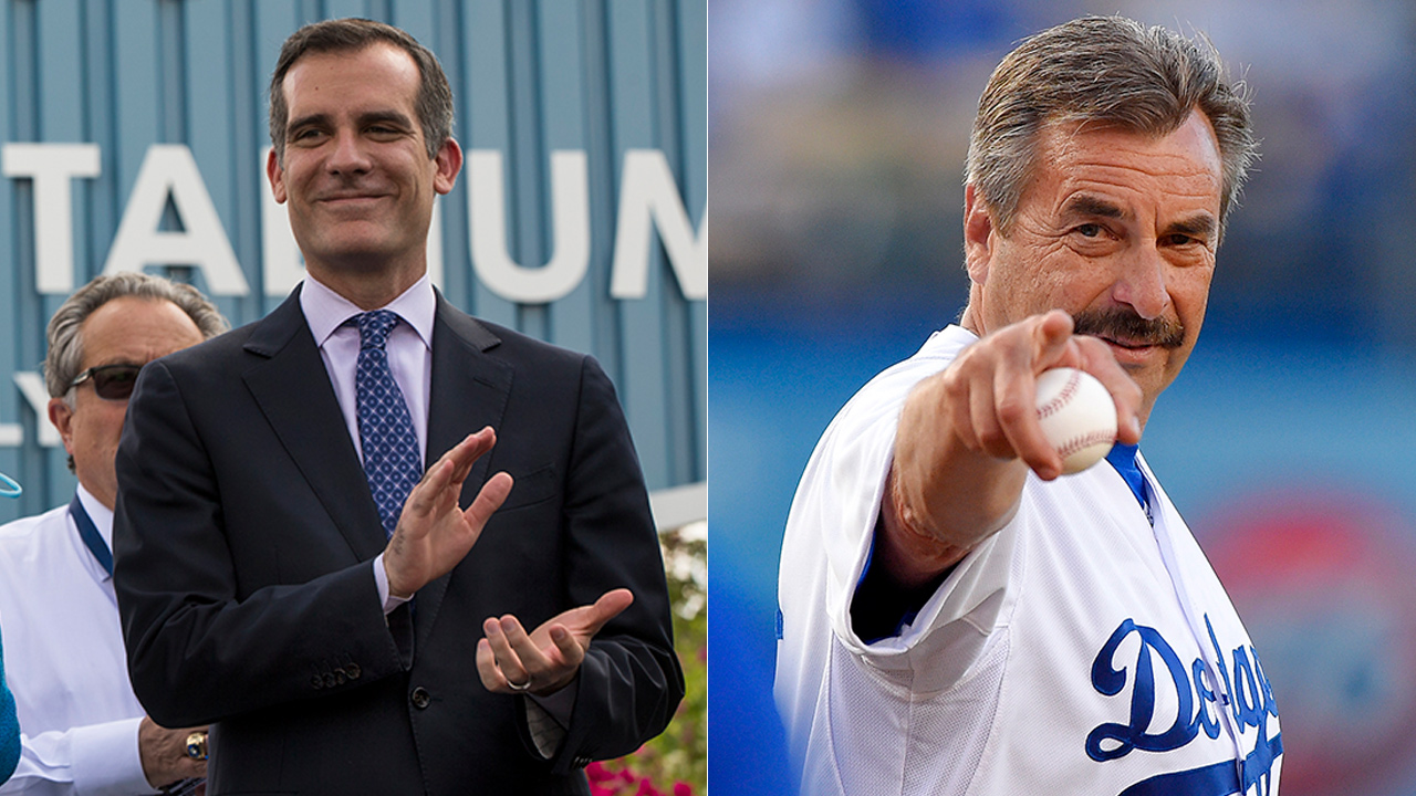 Los Angeles Mayor Eric Garcetti, left, and LAPD Chief Charlie Beck are seen in undated file photos.