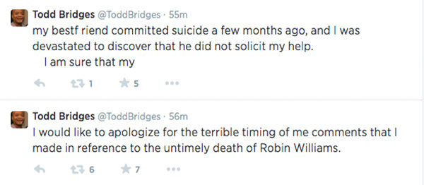 "<div class=""meta image-caption""><div class=""origin-logo origin-image ""><span></span></div><span class=""caption-text"">After so much social uproar, Bridges finally apologizes and shares the fact a close friend of his recently committed suicide. (ToddBridges / Twitter)</span></div>"