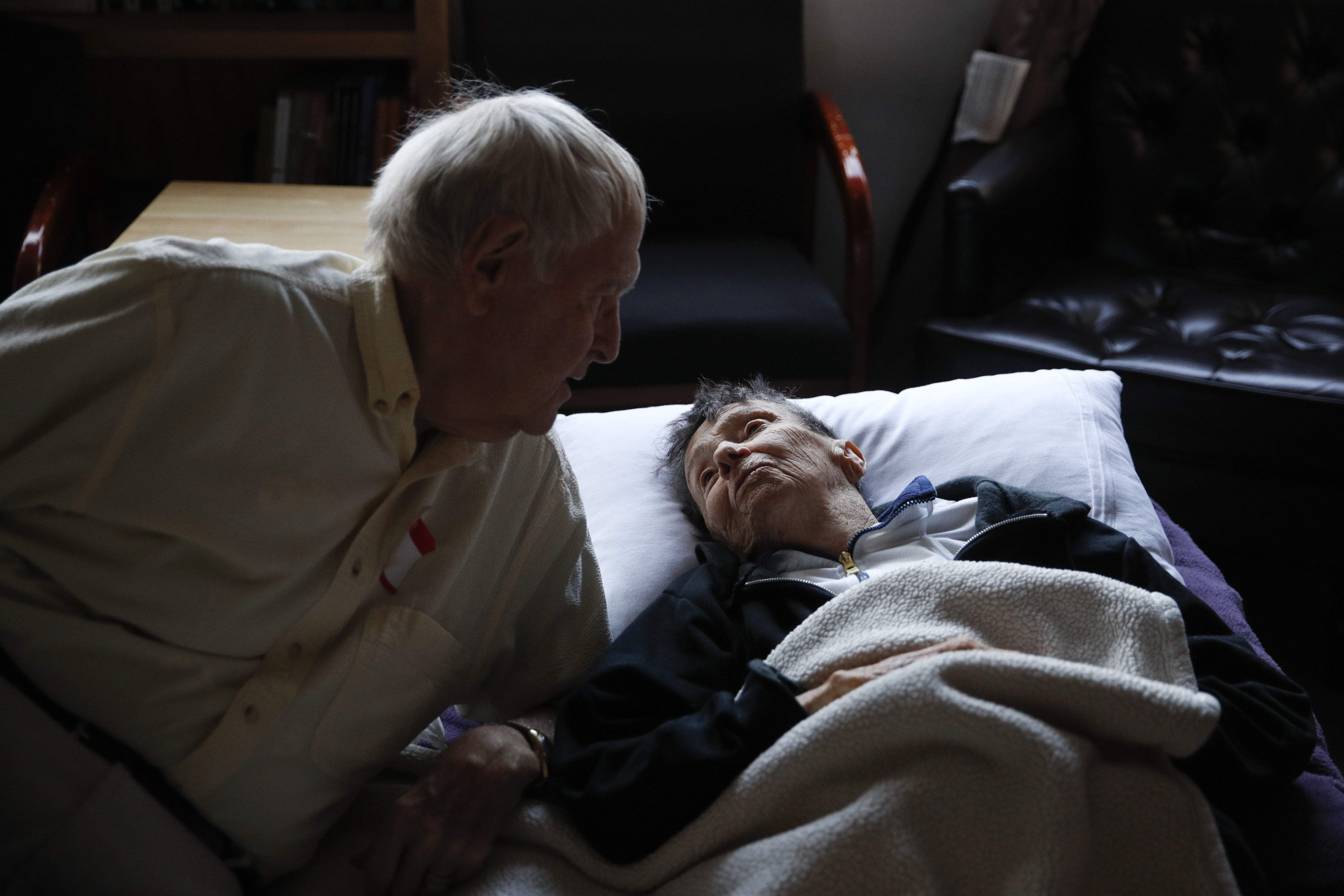 <div class='meta'><div class='origin-logo' data-origin='none'></div><span class='caption-text' data-credit='Jae C. Hong/AP Photo'>Beatrice Thomas, 85, right, chats with her husband, Al, also 85, at First United Methodist Church that doubles as an evacuation shelter Sunday, Oct. 15, 2017, in Santa Rosa, Calif.</span></div>