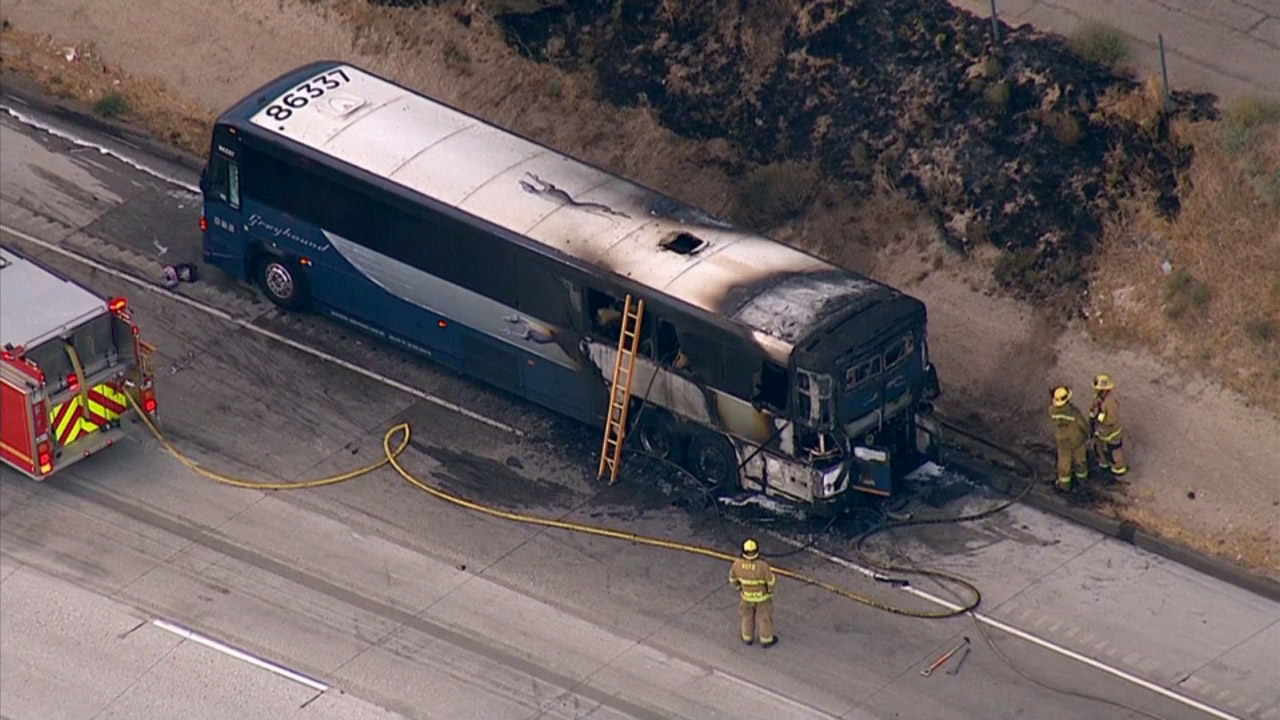 A Greyhound bus caught fire on the southbound 5 Freeway in the Gorman area Tuesday, Aug. 12, 2014.