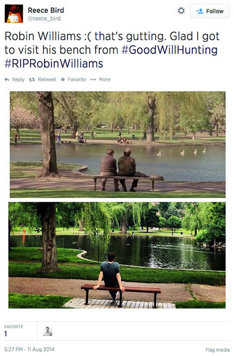 "<div class=""meta image-caption""><div class=""origin-logo origin-image ""><span></span></div><span class=""caption-text"">After news of Williams' death broke, some fans reflected back on the park bench. (reece_bird / Twitter)</span></div>"