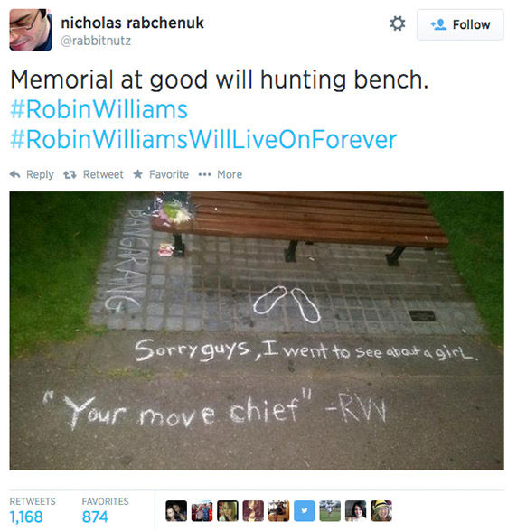 "<div class=""meta image-caption""><div class=""origin-logo origin-image ""><span></span></div><span class=""caption-text"">Fans of Robin Williams turn the Boston Public Garden bench featured in the movie Good Will Hunting into a memorial. (rabbitnutz / Twitter)</span></div>"