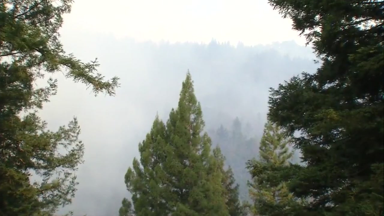 Crews battled a wildfire in the Santa Cruz, Calif. mountains on Tuesday, Oct. 17, 2017.