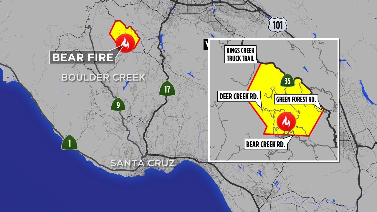 Santa Cruz Mountain Fire Map.Santa Cruz Mountains Wildfire Prompts Over 100 Residents To Evacuate