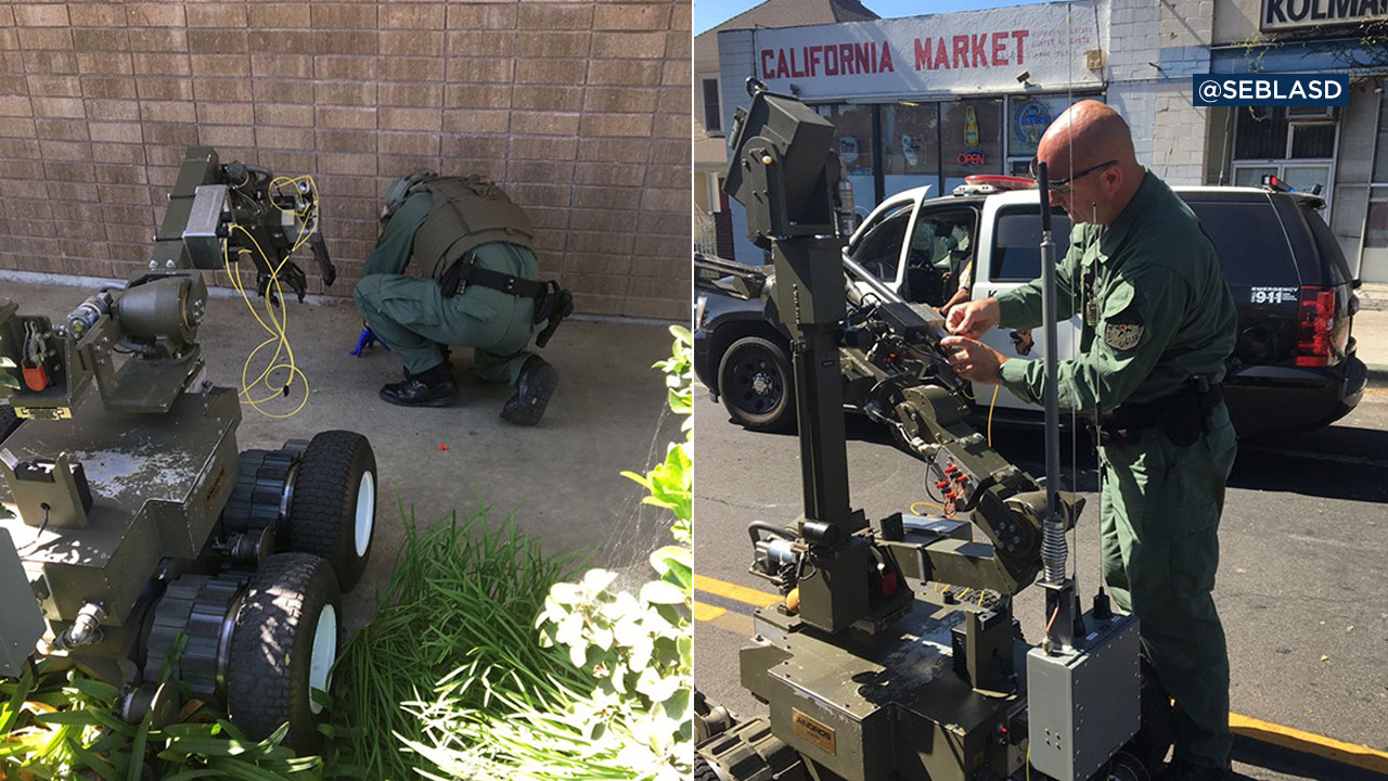 The Los Angeles County Sheriff's Department bomb squad used a robot to examine and blow up what turned out to be a fake bomb planted in front of a Whittier Planned Parenthood.