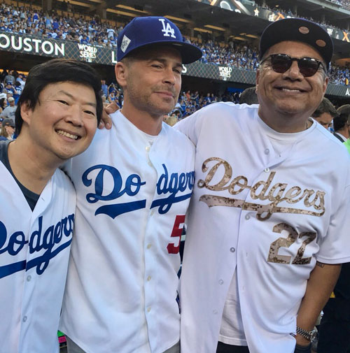 "<div class=""meta image-caption""><div class=""origin-logo origin-image none""><span>none</span></div><span class=""caption-text"">Ken Jeong, Rob Lowe and George Lopez attend game one of the World Series in Los Angeles. (Los Angeles Dodgers)</span></div>"