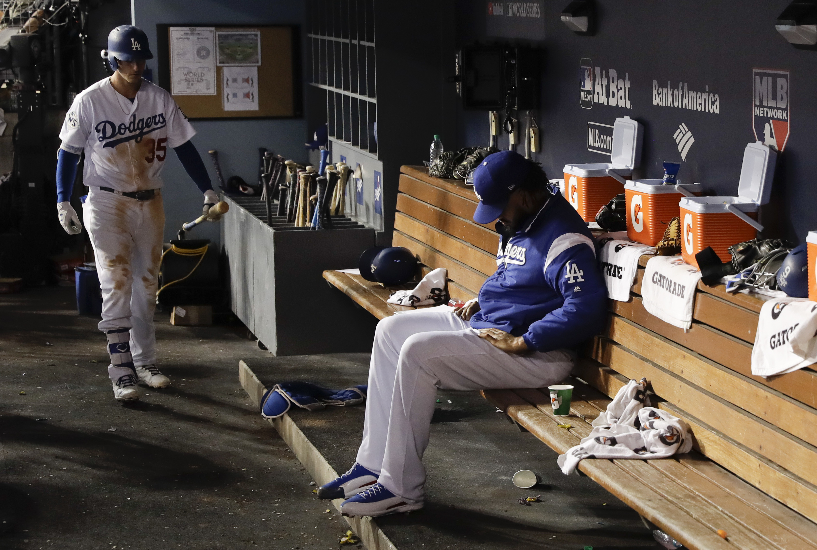 <div class='meta'><div class='origin-logo' data-origin='AP'></div><span class='caption-text' data-credit='(AP Photo/Matt Slocum)'>Dodgers relief pitcher Kenley Jansen sits in the dugout during the ninth inning of Game 2 of the World Series against the Houston Astros Wednesday, Oct. 25, 2017, in Los Angeles.</span></div>