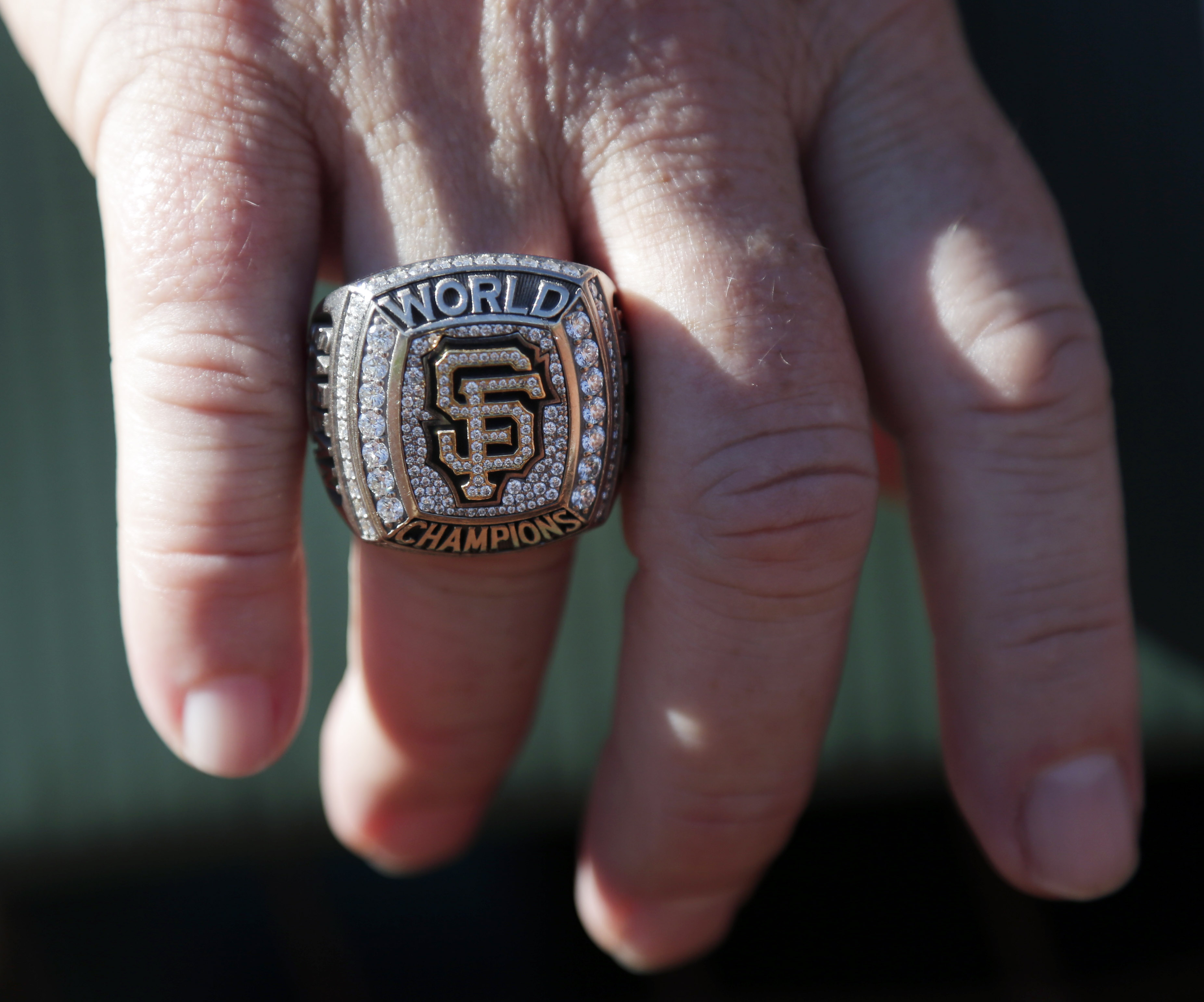 <div class='meta'><div class='origin-logo' data-origin='AP'></div><span class='caption-text' data-credit='AP Photo/Marcio Jose Sanchez'>San Francisco Giants general manager Brian Sabean wears a World Series championship ring as the team works out on Saturday, Oct. 18, 2014, in San Francisco.</span></div>