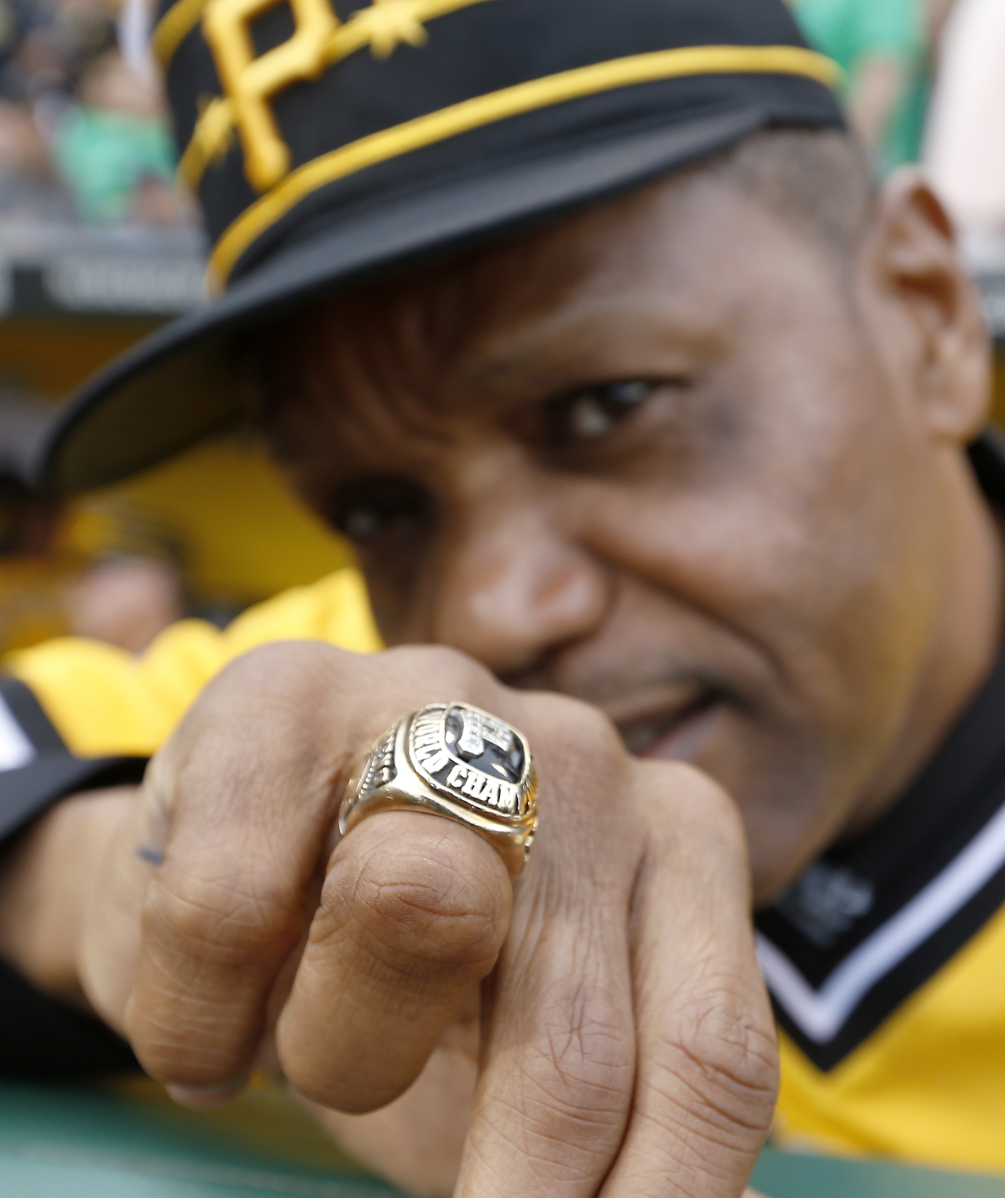 <div class='meta'><div class='origin-logo' data-origin='AP'></div><span class='caption-text' data-credit='AP Photo/Keith Srakocic'>Former Pittsburgh Pirates center fielder Omar Moreno shows off the World Series ring he won with the 1979 Pirates against the Baltimore Orioles.</span></div>