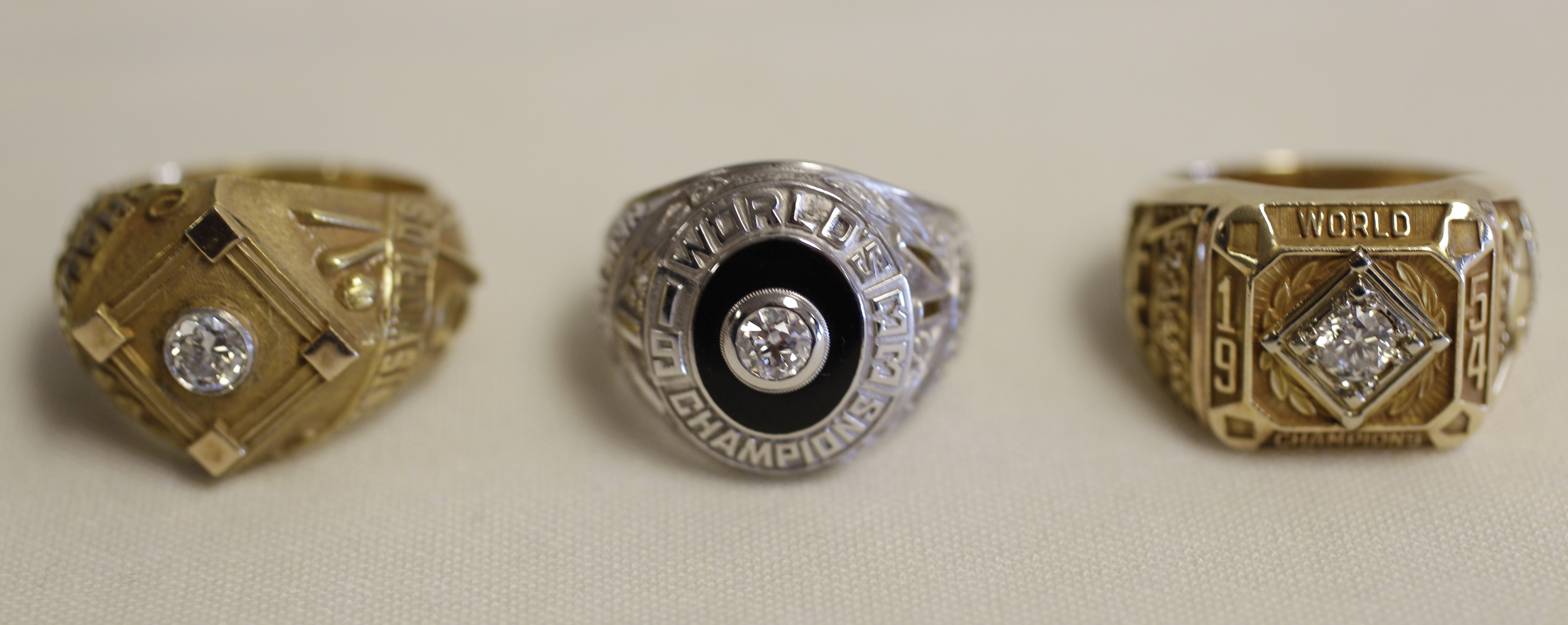 <div class='meta'><div class='origin-logo' data-origin='AP'></div><span class='caption-text' data-credit='AP Photo/Eric Risberg'>New York Giants World Series championship rings, from left, from 1922, 1933 and 1954 on display.</span></div>