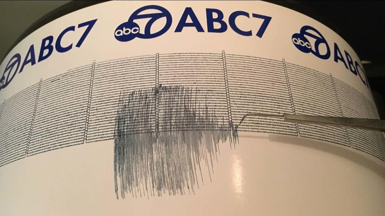 The ABC7 Quake Cam captured the needle moving from the 4.3-magnitude earthquake near Lompoc, Santa Barbara County, on Thursday, Oct. 26, 2017.