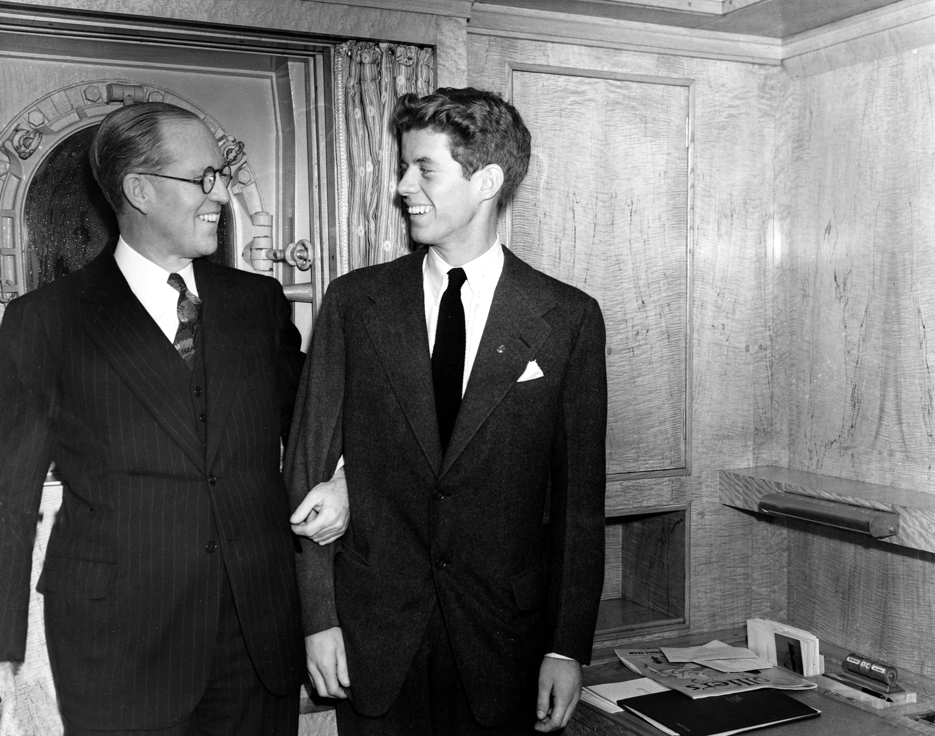 <div class='meta'><div class='origin-logo' data-origin='none'></div><span class='caption-text' data-credit='ASSOCIATED PRESS'>Joseph P. Kennedy, left, U.S. Ambassador to Great Britain, is seen with his son, John F. Kennedy, Jan. 5, 1938, in New York.</span></div>