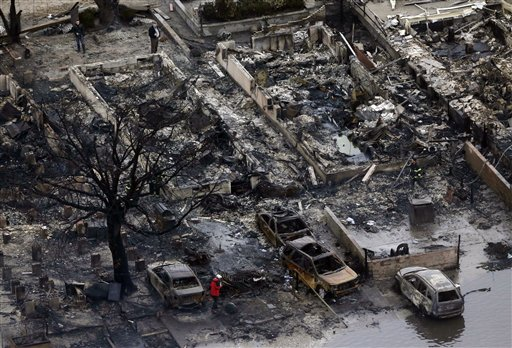 <div class='meta'><div class='origin-logo' data-origin='none'></div><span class='caption-text' data-credit='AP'>This Tuesday, Oct. 30, 2012, file photo, aerial photo shows burned-out homes in the Breezy Point section of the Queens borough New York after a fire.</span></div>