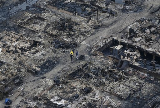 <div class='meta'><div class='origin-logo' data-origin='none'></div><span class='caption-text' data-credit='AP'>This aerial photo shows burned-out homes in the Breezy Point section of the Queens borough New York after a fire on Tuesday, Oct. 30, 2012.</span></div>