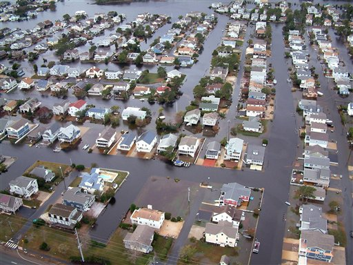 <div class='meta'><div class='origin-logo' data-origin='none'></div><span class='caption-text' data-credit='AP'>Homes in Fenwick Island, Del. are surrounded by floodwaters from superstorm Sandy on Tuesday, Oct. 30, 2012.</span></div>