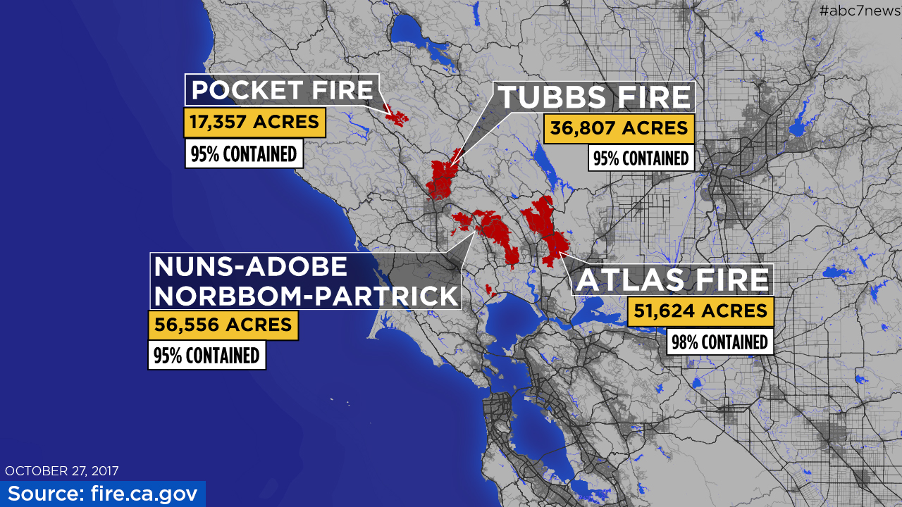 Northbay Fire Map.Maps A Look At Each Fire Burning In The North Bay Abc7news Com