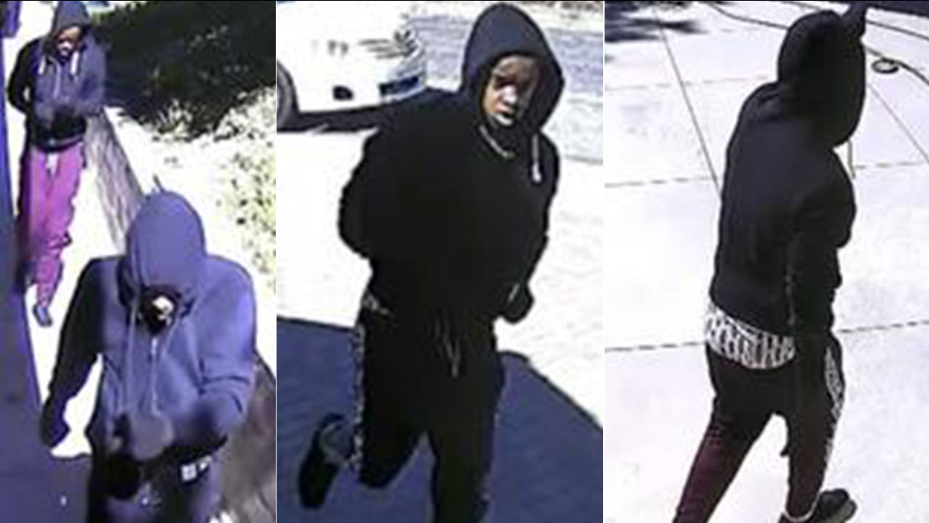 Monterey Park police are looking for two suspects who tried to break into a home during the daytime Tuesday but fled when an alarm was activated.
