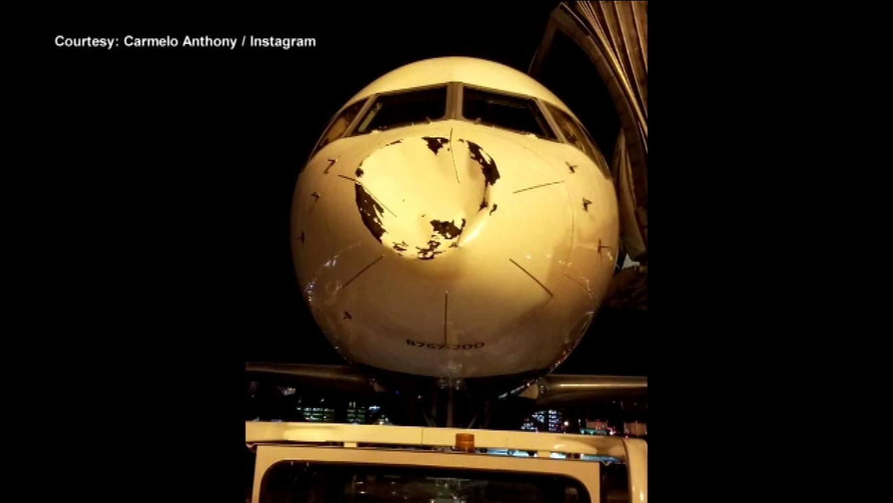 Nose of plane carrying Oklahoma City Thunder dented on