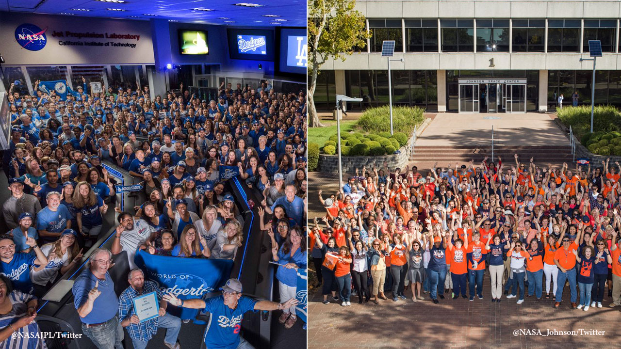NASA employees at the Jet Propulsion Laboratory in Pasadena, Calif. (left) and the Johnson Space Center in Houston, Texas (right) show support for their teams in the World Series.