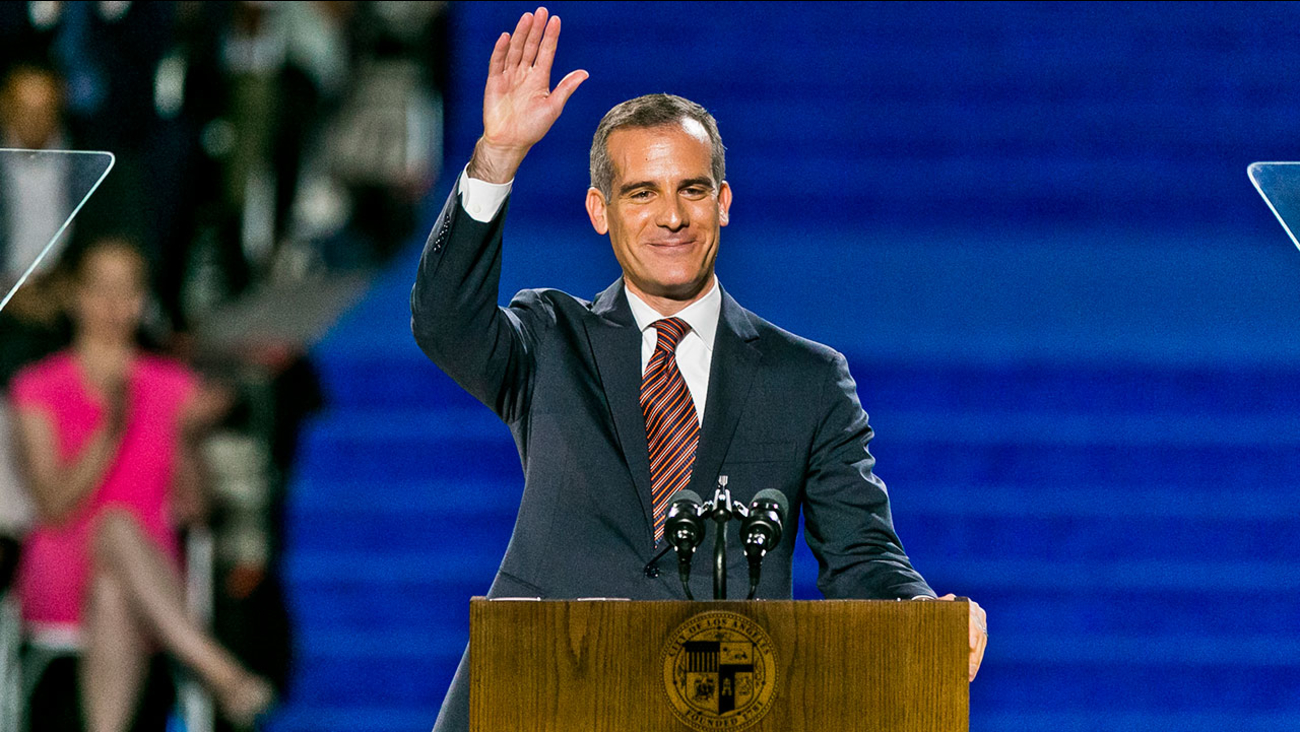Los Angeles Mayor Eric Garcetti speaks as he is sworn in for his second term on July 1, 2017.
