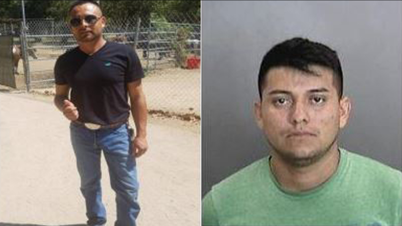 Humberto Rodriguez-Martinez, left, is being sought in the stabbing death of his ex-girlfriend's new boyfriend. Adan Zapot-Leyva has been arrested in the case.