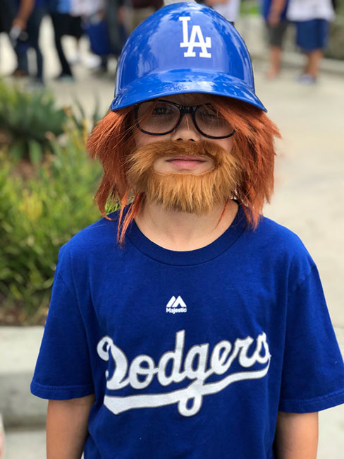 <div class='meta'><div class='origin-logo' data-origin='KABC'></div><span class='caption-text' data-credit='Curt Sandoval/KABC'>One young fan dressed like Justin Turner for Game 6 of the World Series.</span></div>