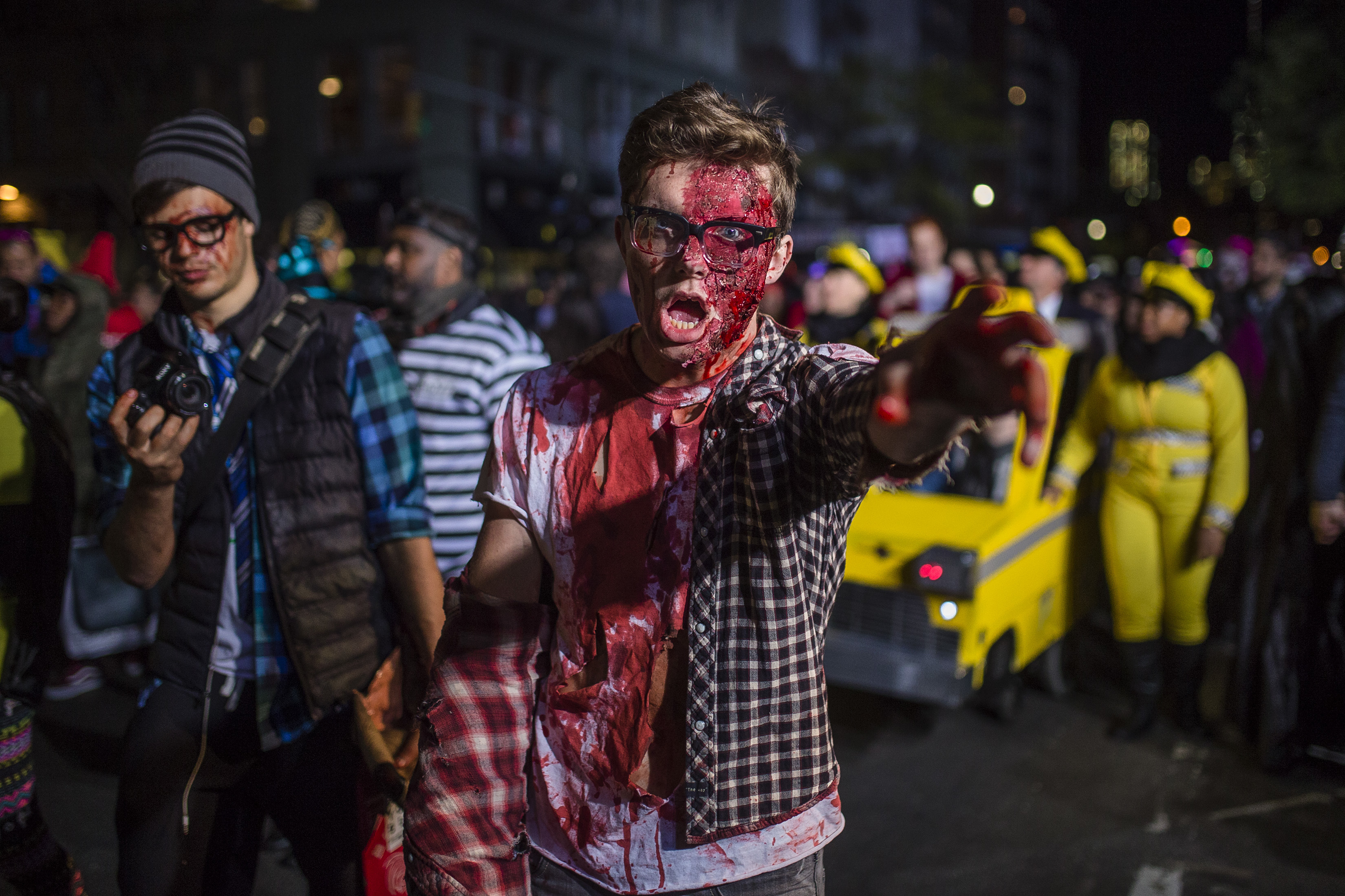 "<div class=""meta image-caption""><div class=""origin-logo origin-image none""><span>none</span></div><span class=""caption-text"">A reveler performs as he marches during the Greenwich Village Halloween Parade in New York, Monday, Oct. 31, 2016. (AP Photo/Andres Kudacki)</span></div>"