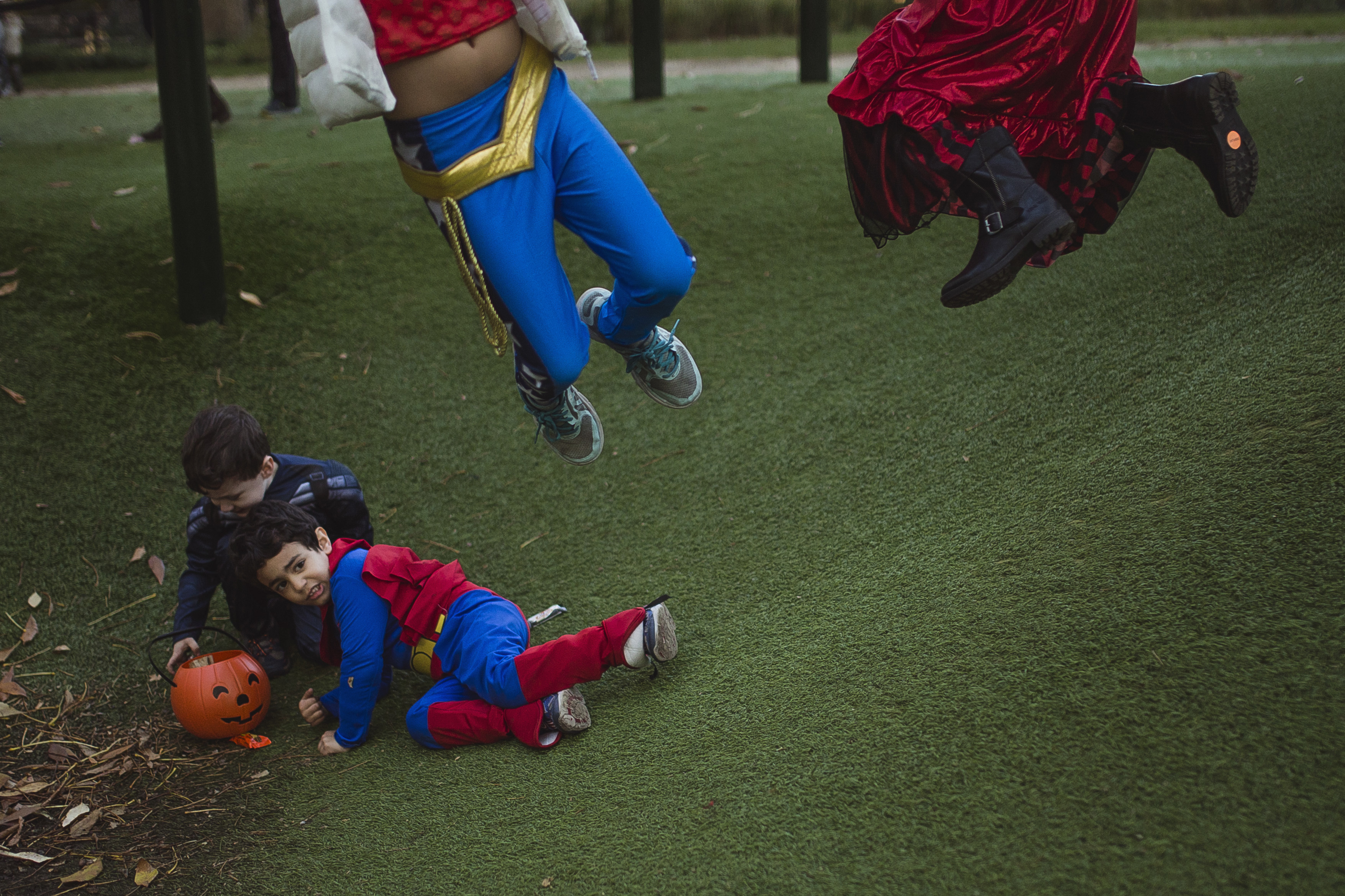 "<div class=""meta image-caption""><div class=""origin-logo origin-image none""><span>none</span></div><span class=""caption-text"">Children wearing costumes play at Washington Square Park before the Greenwich Village Halloween Parade in New York, Monday, Oct. 31, 2016. (AP Photo/Andres Kudacki)</span></div>"