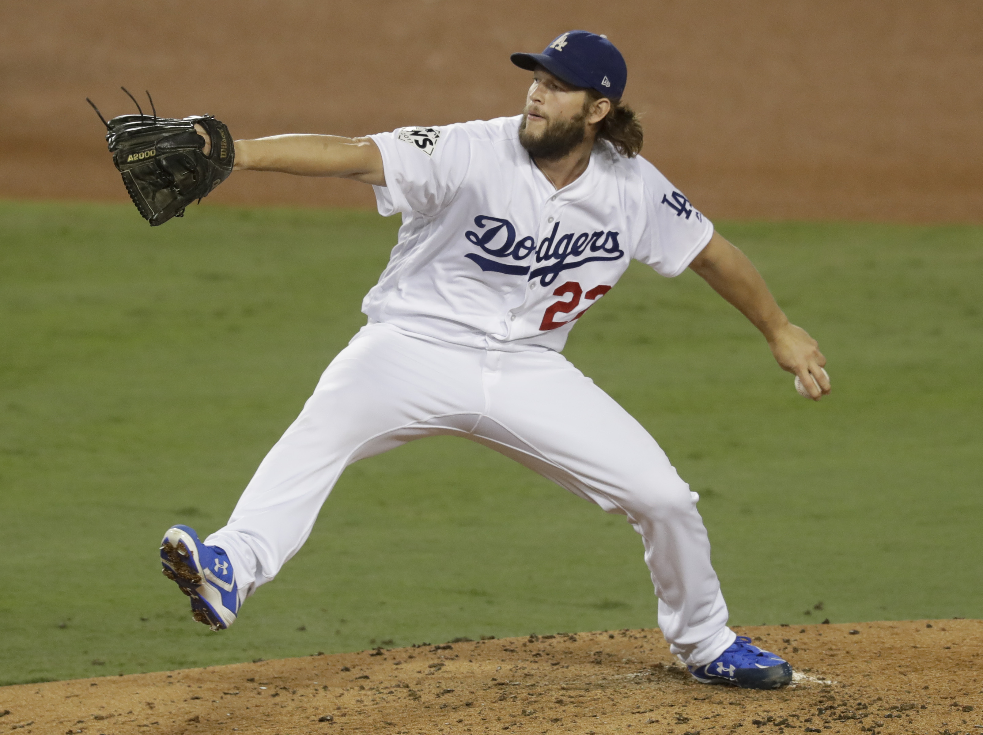 <div class='meta'><div class='origin-logo' data-origin='AP'></div><span class='caption-text' data-credit='(AP Photo/Alex Gallardo)'>Los Angeles Dodgers starting pitcher Clayton Kershaw throws against the Houston Astros during the third inning of Game 7 of baseball's World Series Wednesday, Nov. 1, 2017.</span></div>