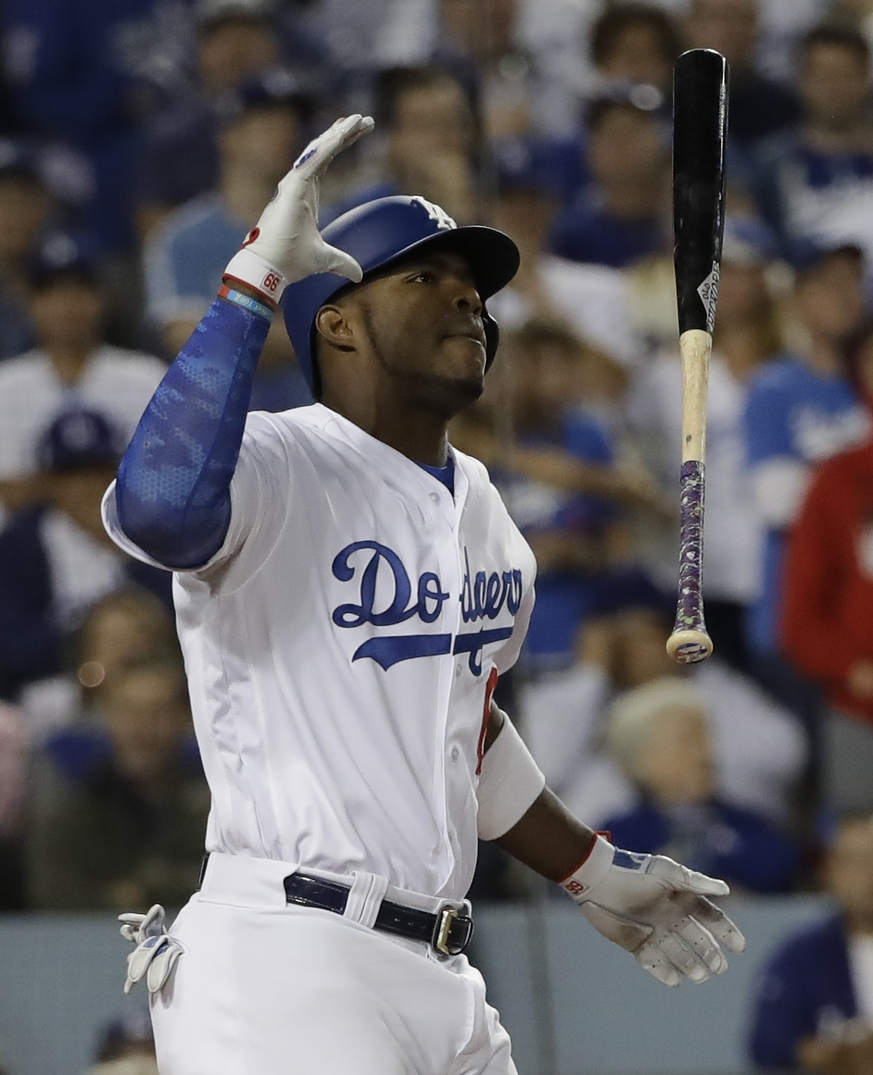 <div class='meta'><div class='origin-logo' data-origin='AP'></div><span class='caption-text' data-credit='(AP Photo/David J. Phillip)'>Los Angeles Dodgers' Yasiel Puig reacts to a strike during the fifth inning of Game 7 of baseball's World Series against the Houston Astros Wednesday, Nov. 1, 2017, in Los Angeles.</span></div>
