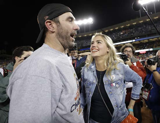 "<div class=""meta image-caption""><div class=""origin-logo origin-image ap""><span>AP</span></div><span class=""caption-text"">Houston Astros' Justin Verlander celebrates with Kate Upton after Game 7 of baseball's World Series against the Los Angeles Dodgers. (AP Photo/Matt Slocum) (AP)</span></div>"