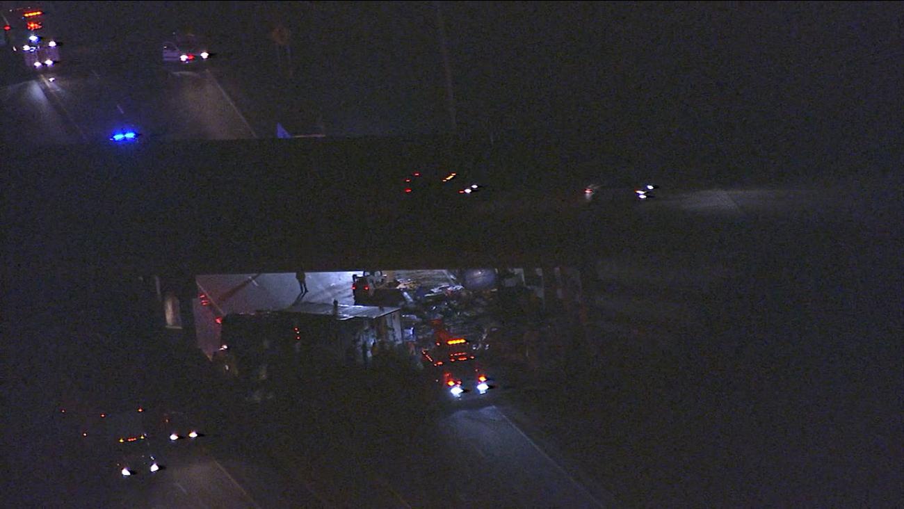Chopper 11 HD over the crash scene on I-95 near Lumberton